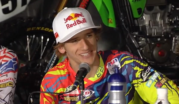 Ken Roczen won his first race in the Monster Energy AMA Supercross Series, which visited Angel Stadium in Anaheim on Saturday.