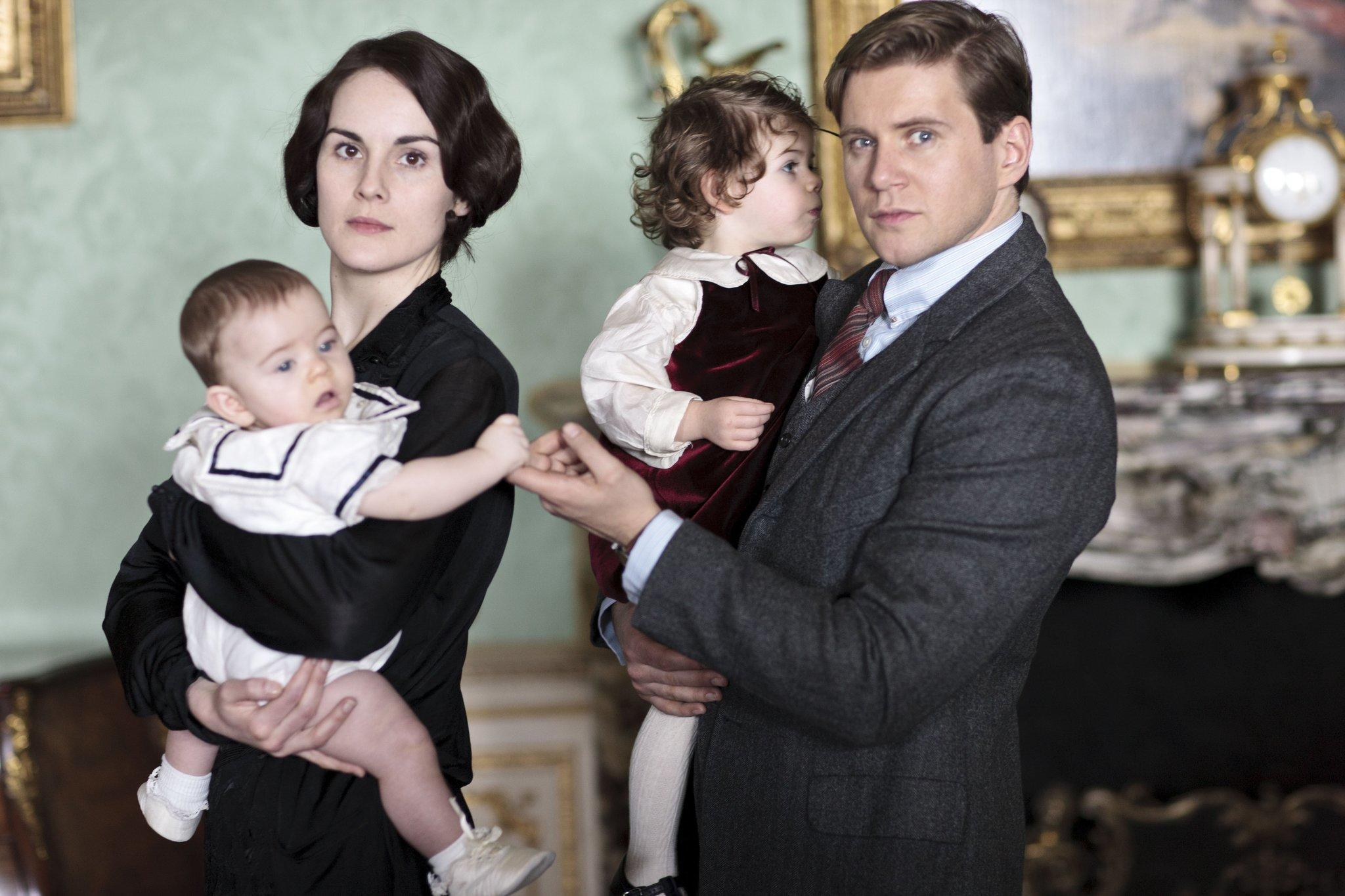 "Michelle Dockery as Lady Mary and Allen Leech as Branson from ""Downton Abbey: Season 4"" to be broadcast January 5, 2014 on PBS."