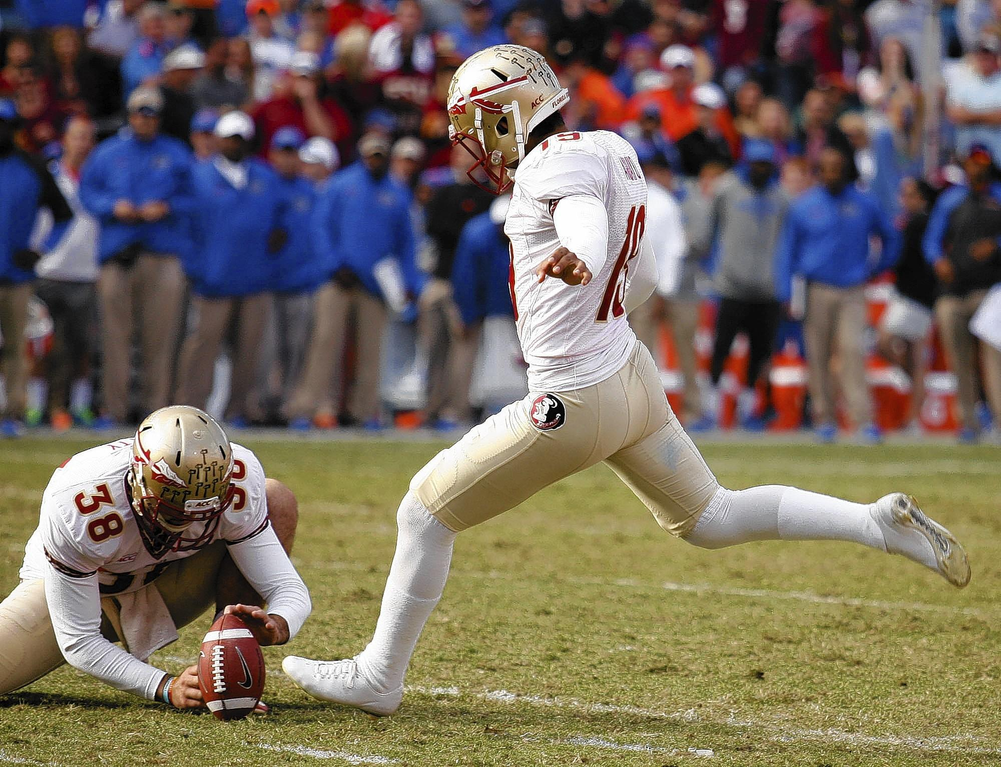 FSU kicker Roberto Aguayo kicks a field goal during the Florida State at University of Florida football game at Ben Hill Griffin Stadium in Gainesville on Saturday, November 30, 2013. Florida State won the game 37-7. (Stephen M. Dowell/Orlando Sentinel)