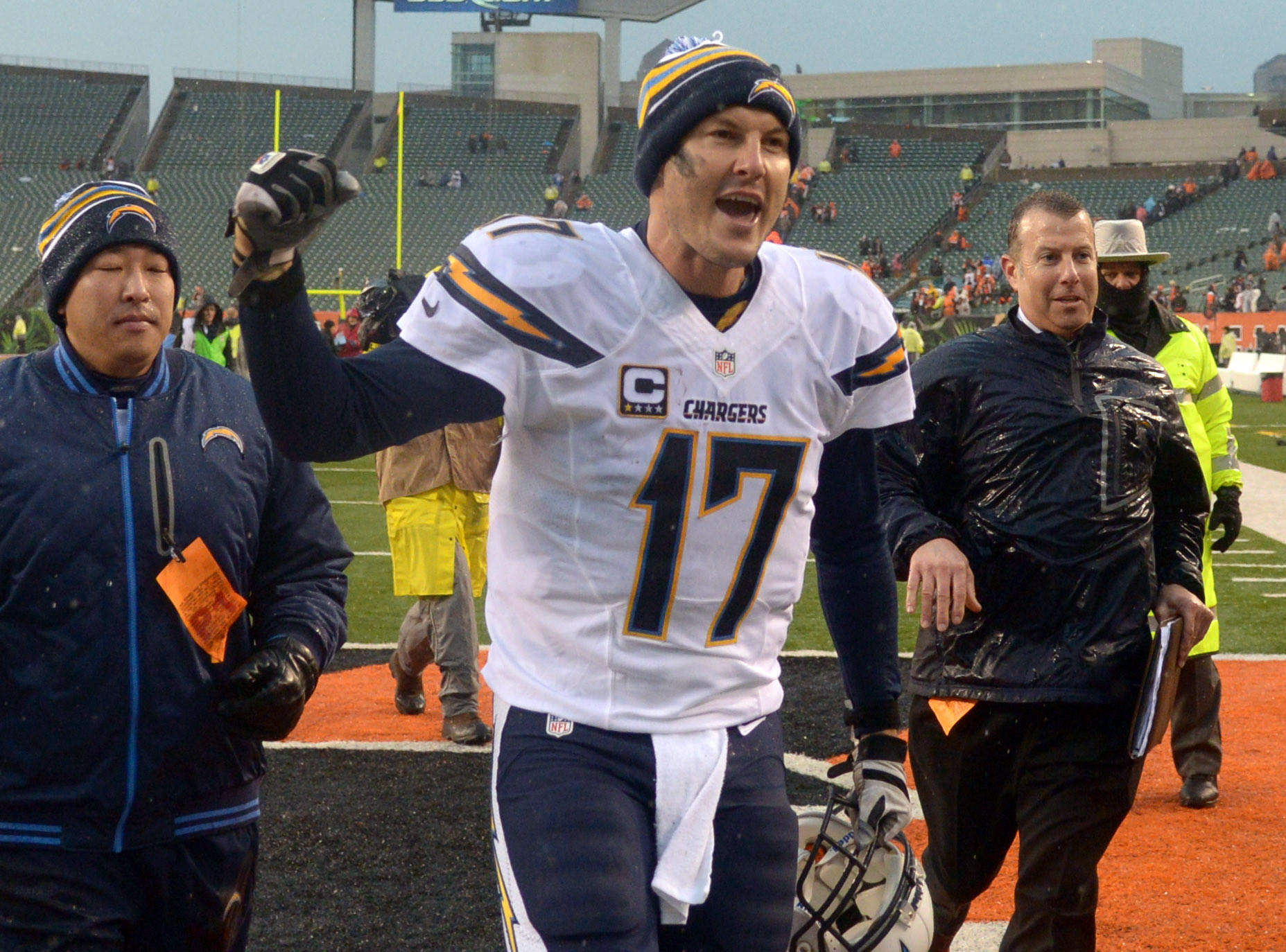 Chargers quarterback Philip Rivers celebrates at the end of the 2013 AFC wild card playoff game against the Bengals at Paul Brown Stadium.