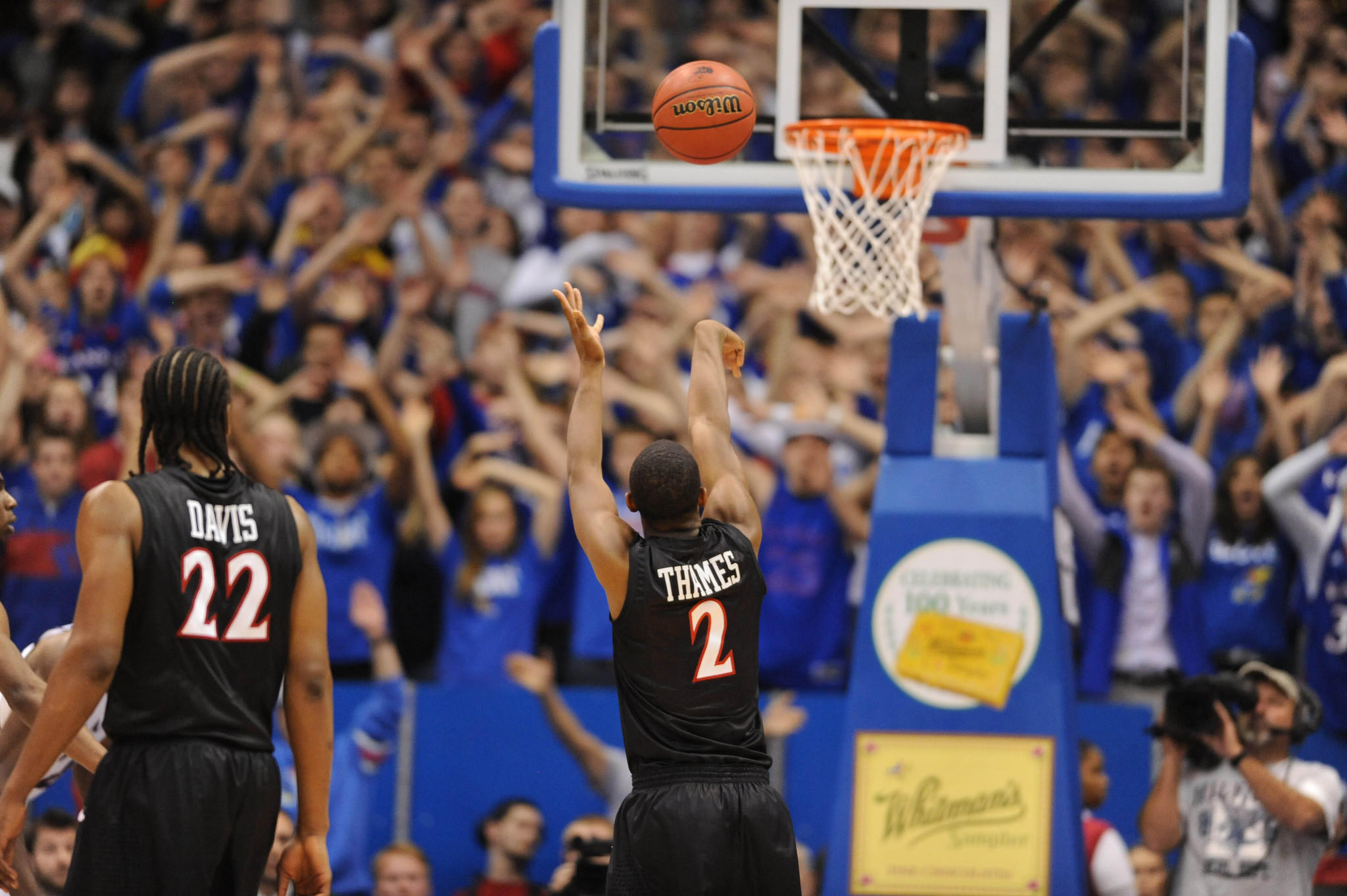 San Diego State's Xavier Thames makes a free-throw during the second half against Kansas at Allen Fieldhouse.