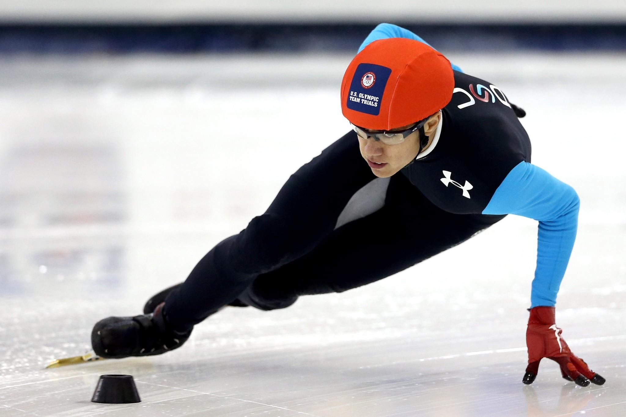 J.R. Celski skates in the first 1,000 meter semifinal during the U.S. Olympic Short Track Trials at the Utah Olympic Oval.