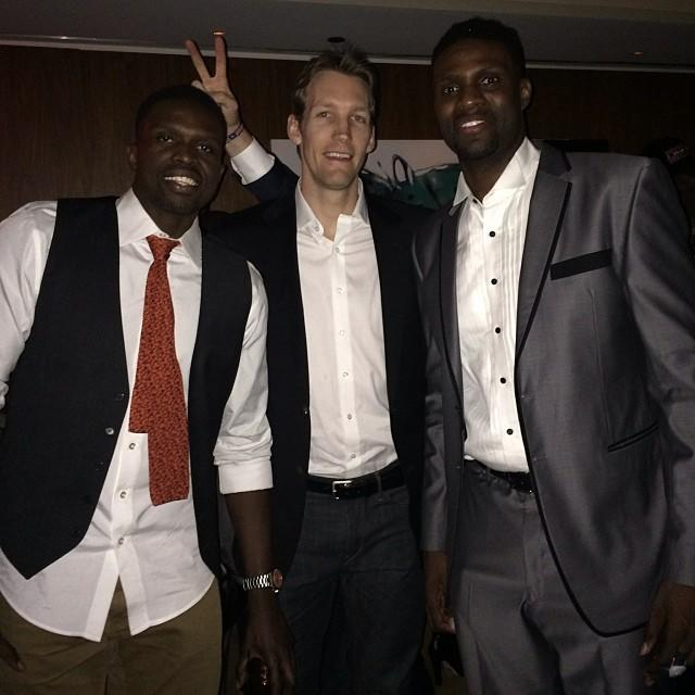 (L to R) The Bulls' Luol Deng, Mike Dunleavy, Jr. and Nazr Mohammed at the Pump Room in the Public Chicago hotel New Year's Eve.