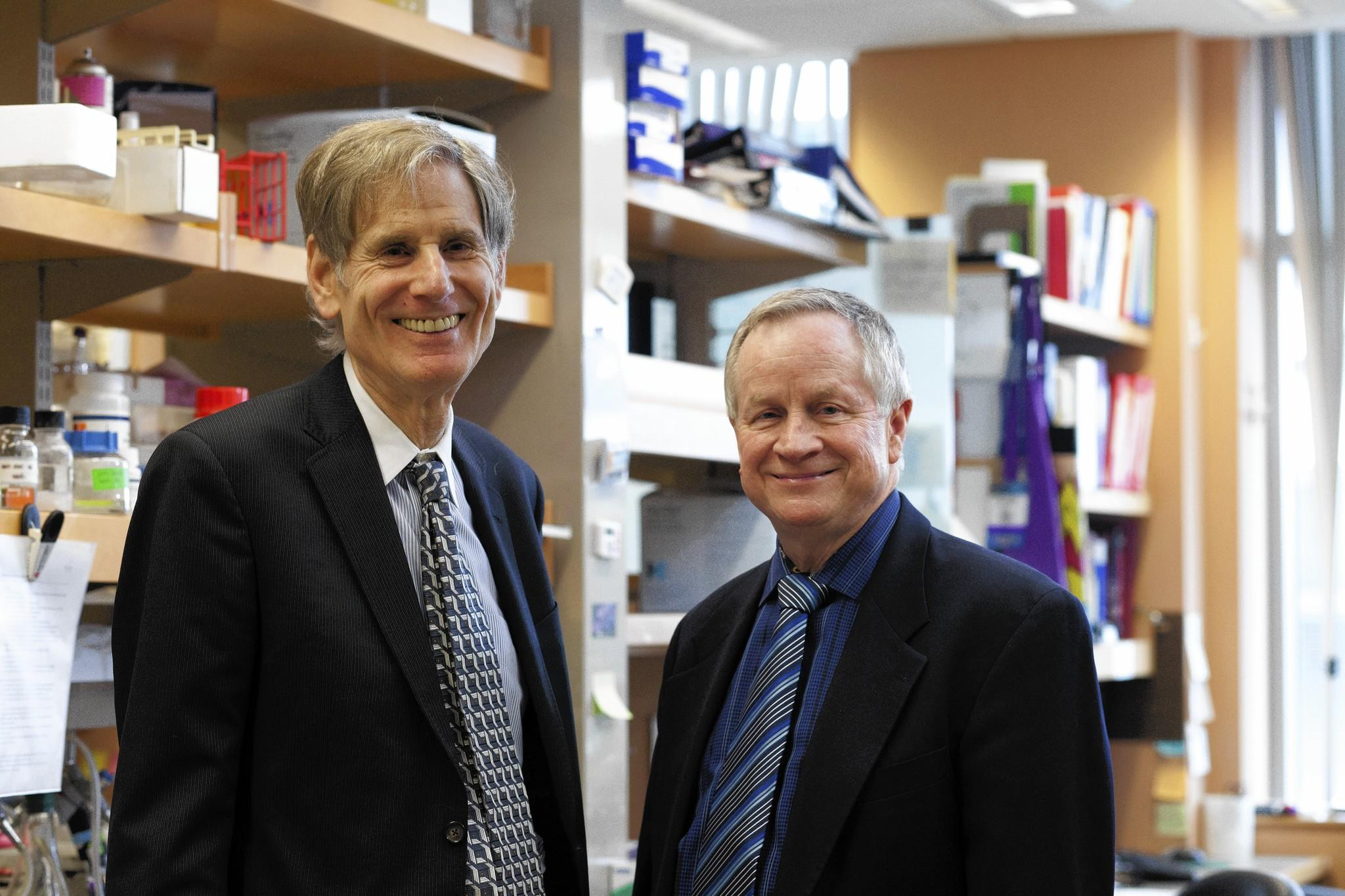 Under the direction of Ralph Weichselbaum, left, and Geoffrey Greene, the Ludwig Center at the University of Chicago plans to accelerate research on metastasis, the process by which cancer cells spread from a primary tumor to multiple sites in the body.