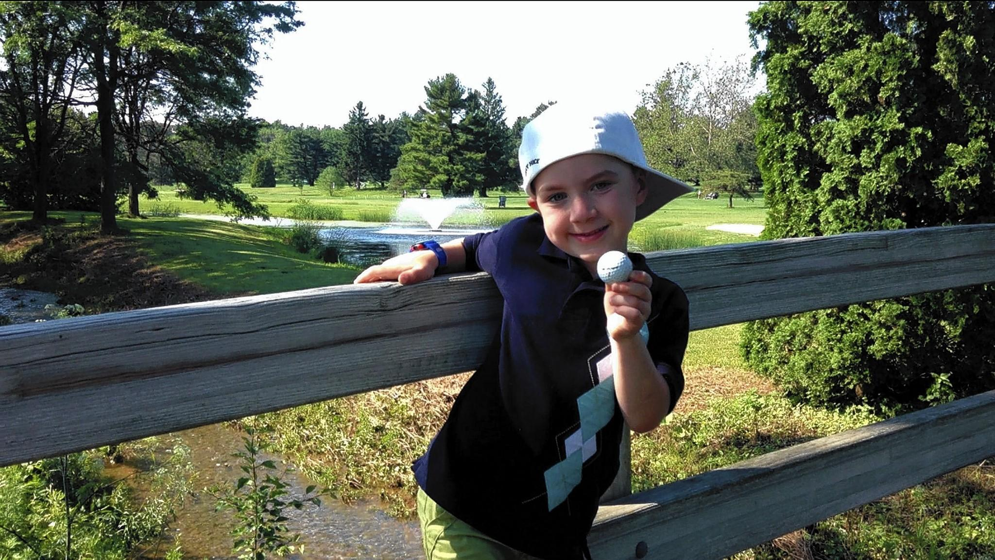 "Six-year-old golfer and rapper Caleb Corsa of Allentown, also known by his rap name ""Caleb C,"" at Allentown Municipal Golf Course."