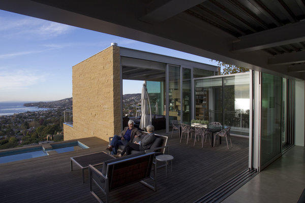 LAGUNA BEACH, CA-DEC. 09, 2013: Architect Paul Zajfen's sits with his wife, Susan Zajfen at their Laguna Beach home Monday, Dec. 9, 2013. Zajfen has spent years -- and years, and years -- trying to build his dream house in Laguna Beach. After lots of delays due to city design reviews, his house finally is built on four levels. (Photo By Allen J. Schaben / Los Angeles Times)