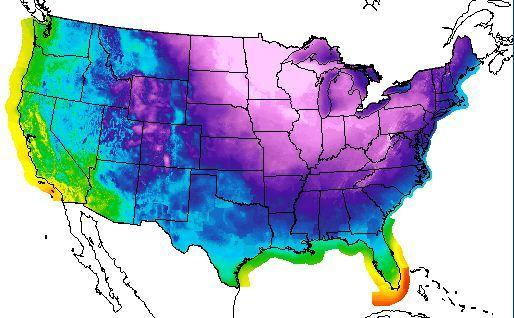 Bitter cold is forecast across the eastern United States Monday night.