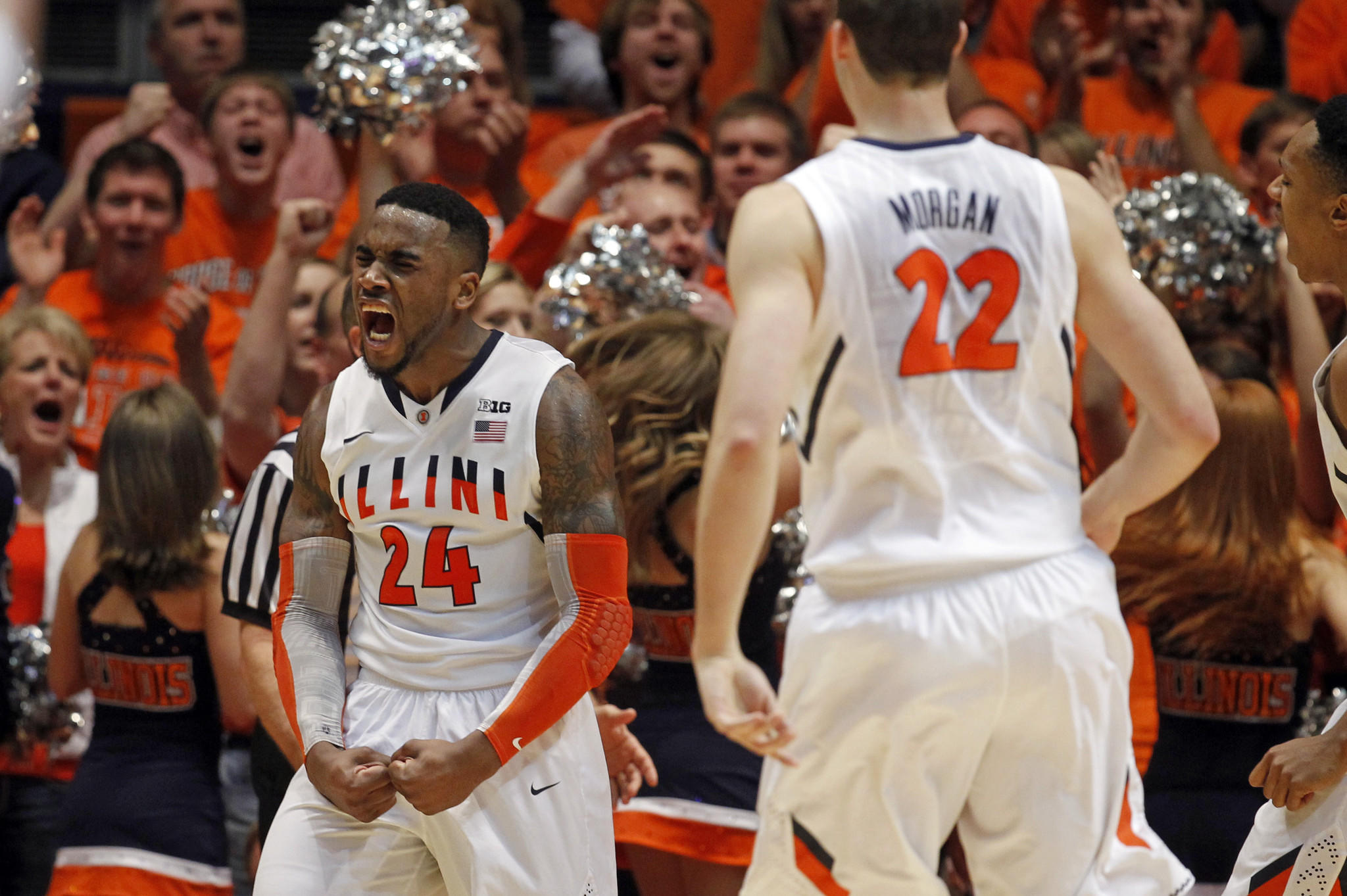 Illinois Fighting Illini guard Rayvonte Rice (24) celebrates a steal and basket against the Indiana Hoosiers in the first half Tuesday.