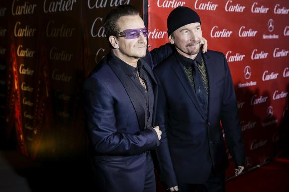 U2 members Bono, left, and the Edge.