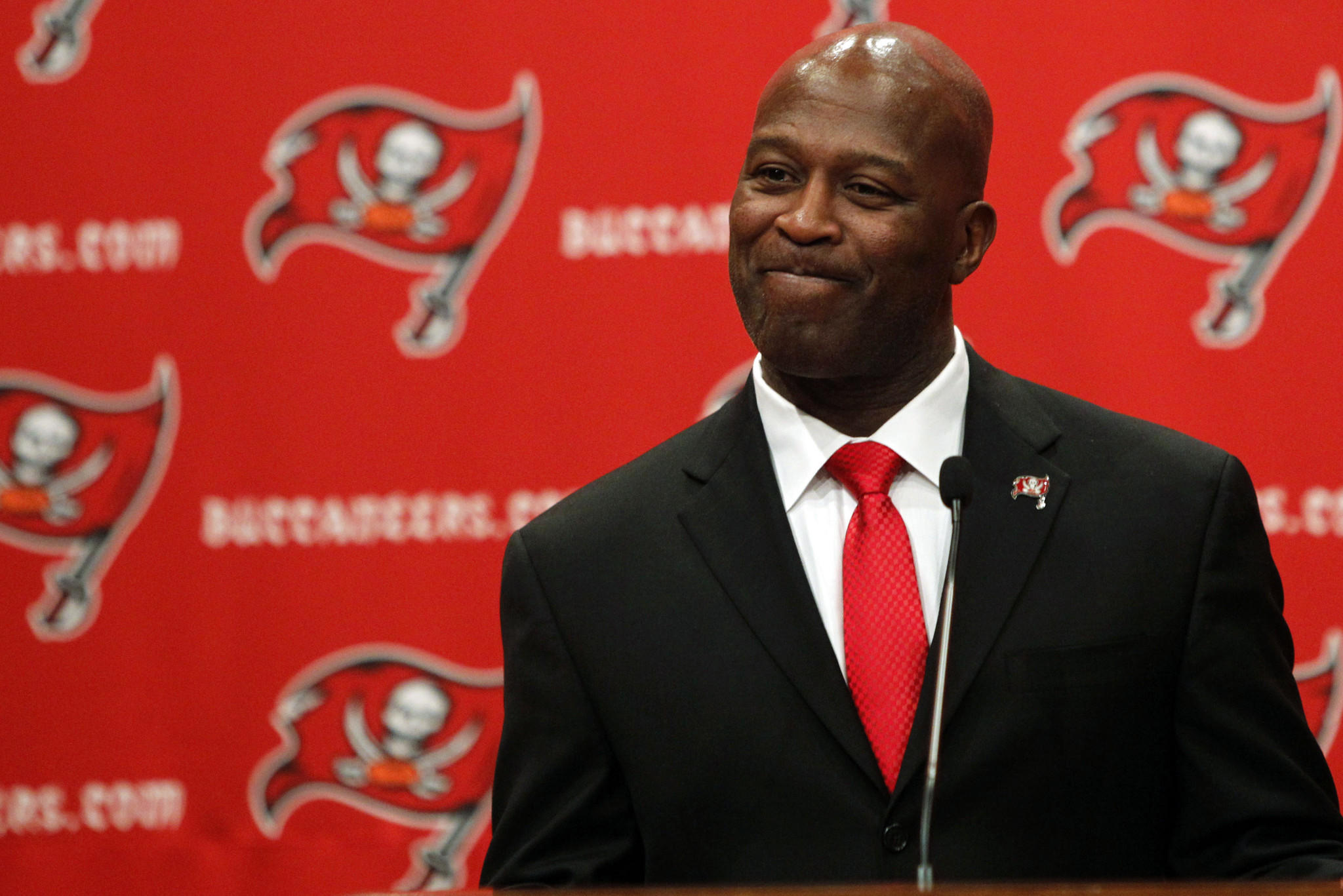 New Buccaneers head coach Lovie Smith is introduced Monday.