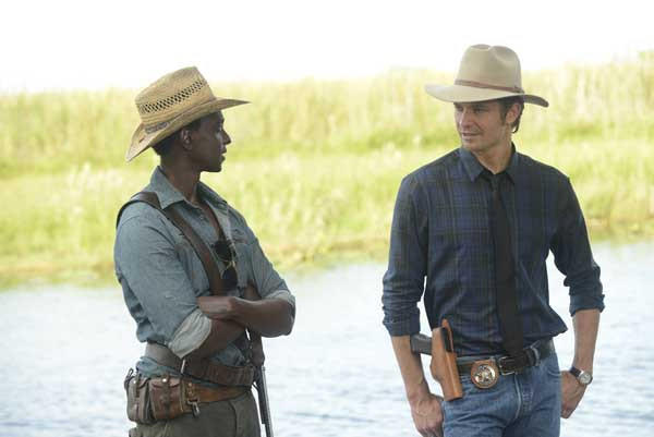 "Edi Gathegi, left, and Timothy Olyphant in ""Justified"" on FX."