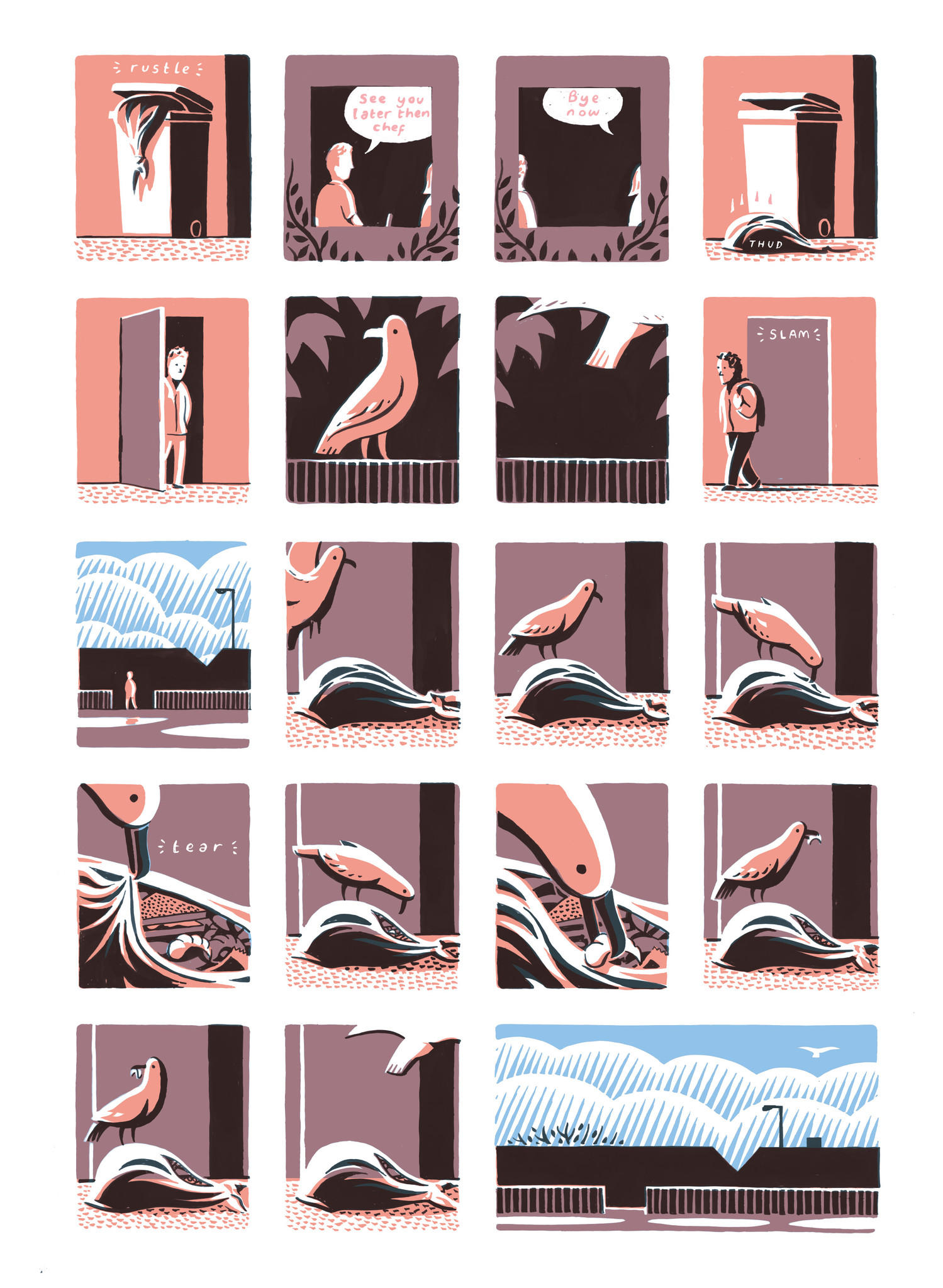 """A page from Jon McNaught's """"Dockwood,"""" which tells its stories quietly, in small images."""