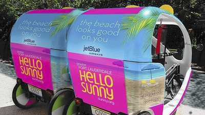 "Un pedicab ofrece transporte gratis durante el evento ""The Beach looks Good on You"" del Greater Fort Lauderdale Convention & Visitors Bureau en enero en Nueva York."