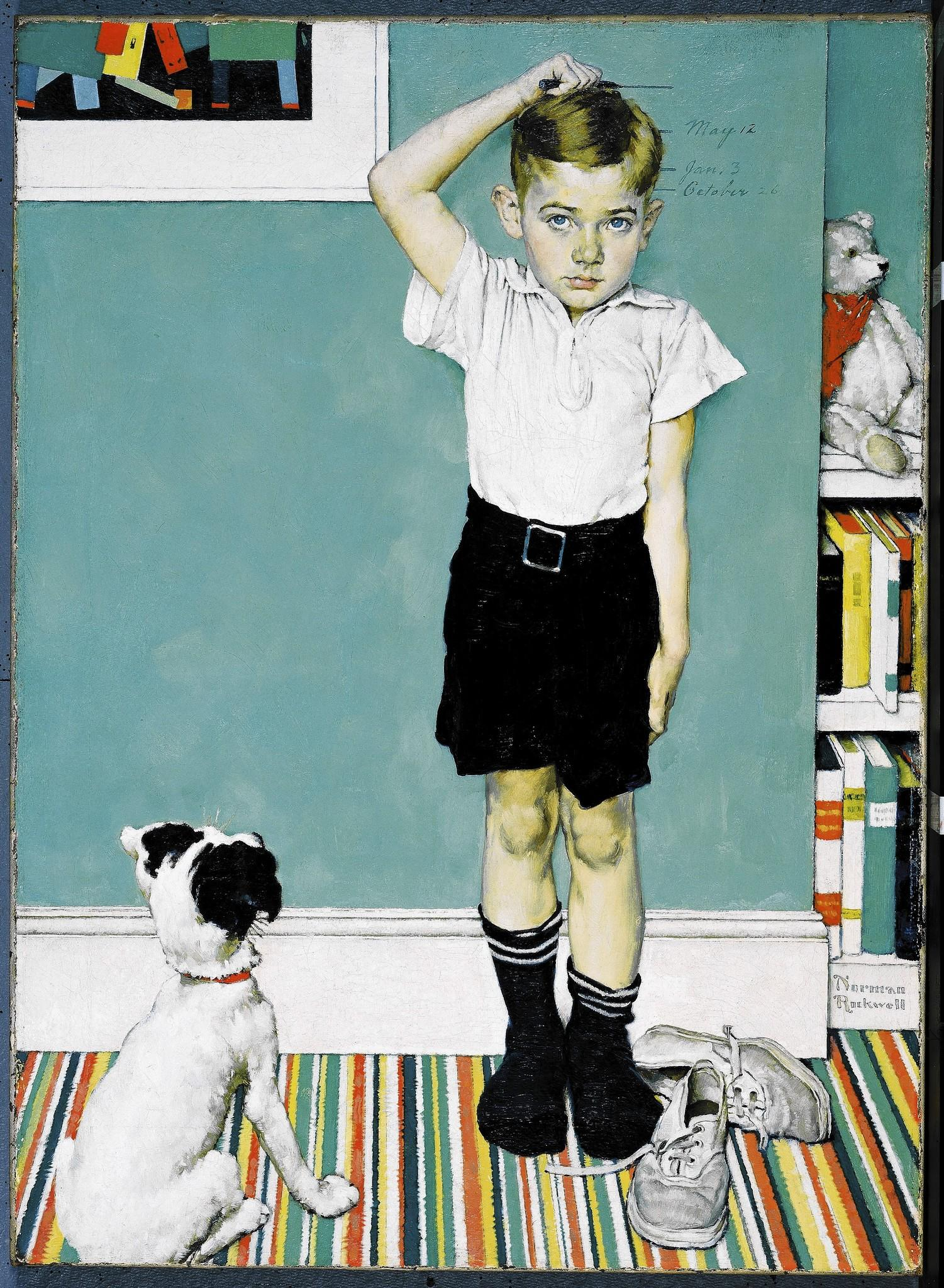 "Norman Rockwell's ""He's Going To Be Taller Than Dad,"" 1939, oil on canvas print advertisement for the Upjohn Company of Pfizer Inc."