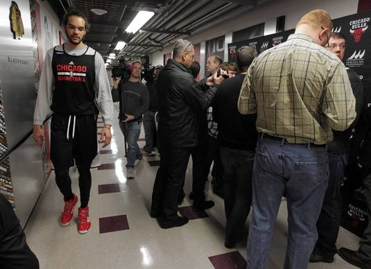 At the United Center, Chicago Bulls center Joakim Noah declines comment regarding the trade of 10-year veteran Luol Deng