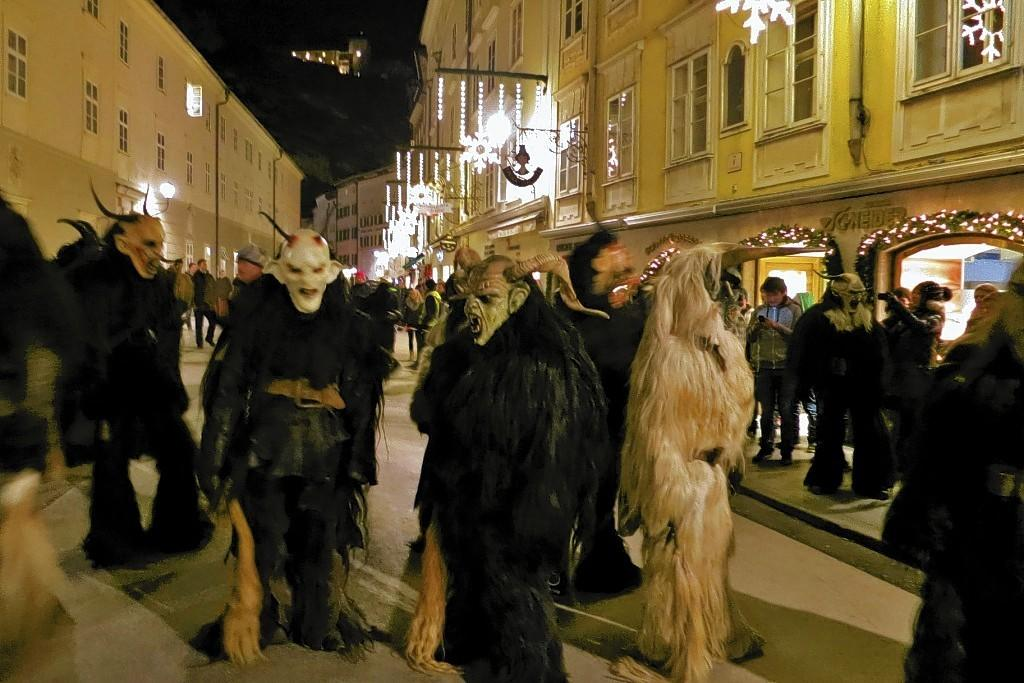 In Salzburg, Austria, before Christmas, characters in the ancient celebration of Krampus prowl the streets looking for misbehaving children.