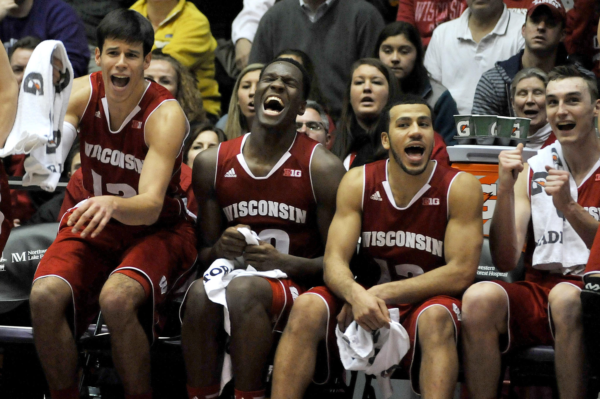 The Wisconsin bench is all smiles late in the win over Northwestern.