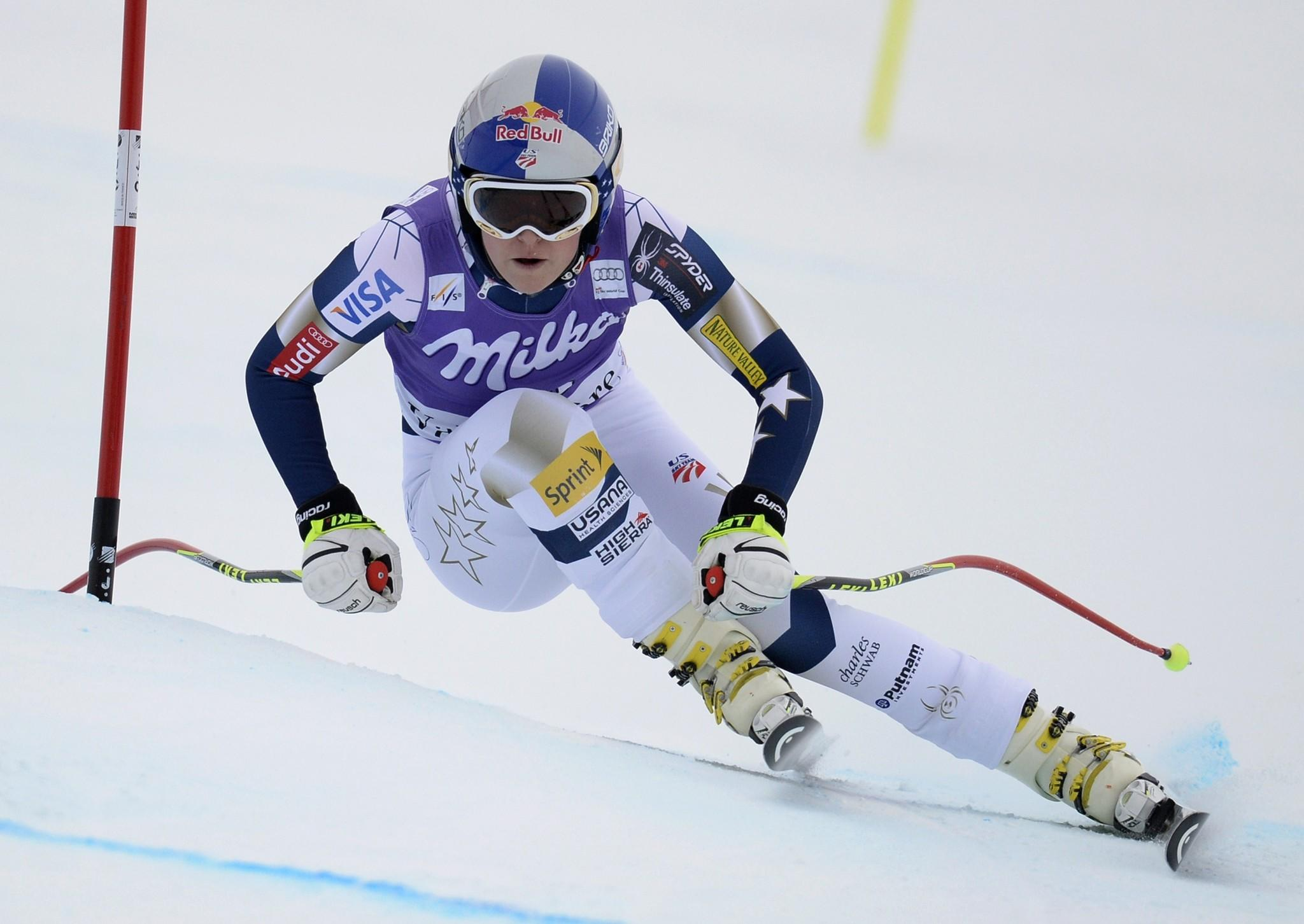 Lindsey Vonn, here competing during the second training session of the FIS Alpine World Cup Women's Downhill in December 19, 2013, announced she will miss next month's Sochi Winter Olympics due to a knee injury.