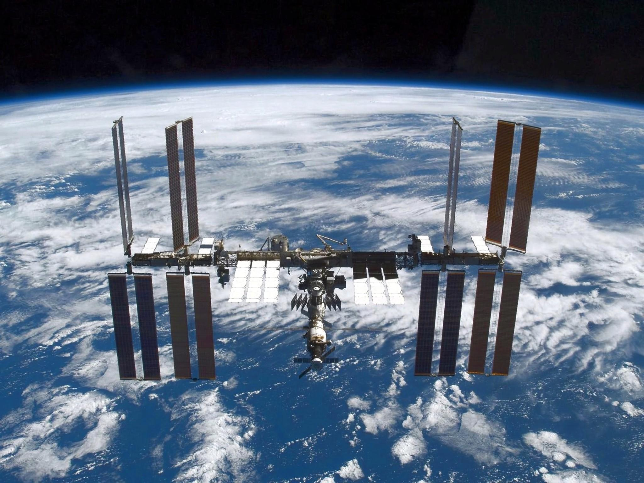 A file handout image provided by NASA and dated November 25, 2009 showing the International Space Station photographed soon after the space shuttle Atlantis and the station began their post-undocking separation.
