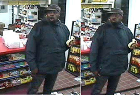 Surveillance images of a man who police say broke into a convenience store by ramming it with a station wagon.