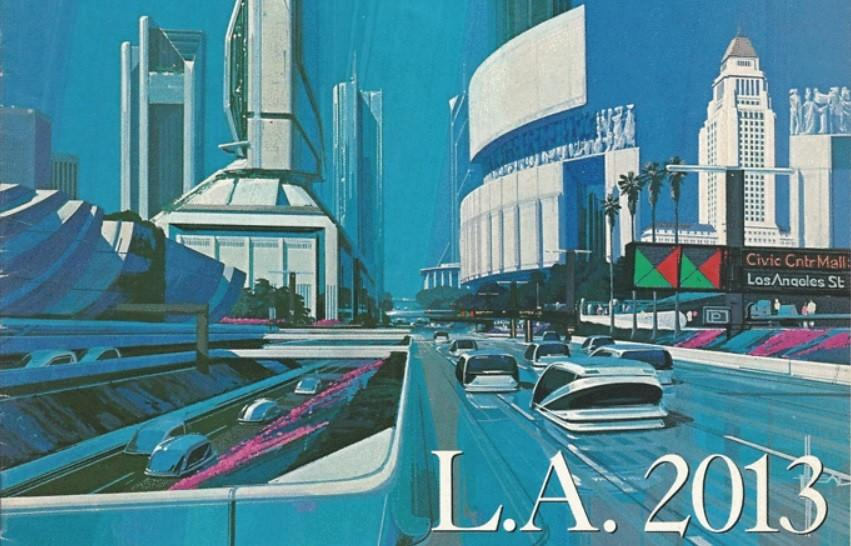 Futurist Syd Mead's 1988 conception of downtown Los Angeles, circa 2013, looking west on 1st street toward the Civic Center and San Pedro Street.