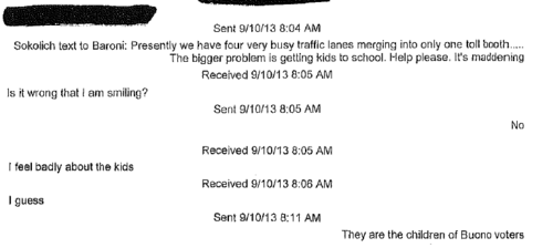 Officials involved in the scandal, whose identities have been redacted, mock Fort Lee Mayor Mark Sokolich's concern over the traffic. Democratic state Sen. Barbara Buono, Christie's opponent in his reelection campaign, is referenced in the final line of the exchange.