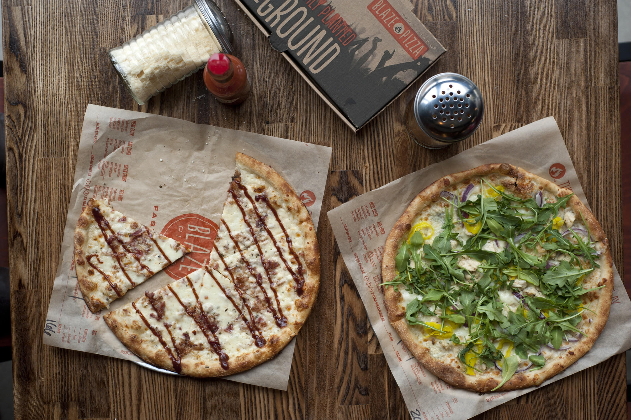 Barbecue chicken and White Top pizzas at Blaze Pizza in Lakeview