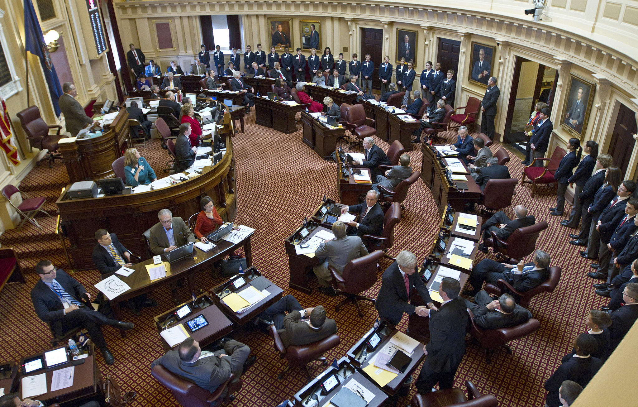 A view of the Senate floor on opening day of the 2014 session of the Virginia Assembly.