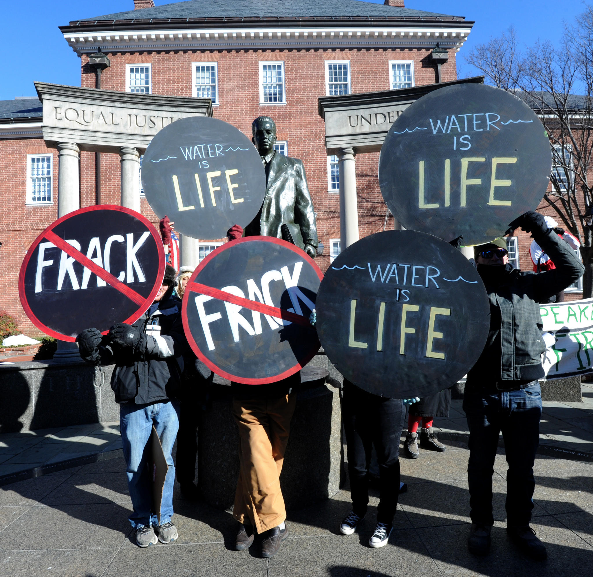 A rally was held in Lawyers Mall at 11am just before the opening of the General Assembly to encourage a moratorium on fracking