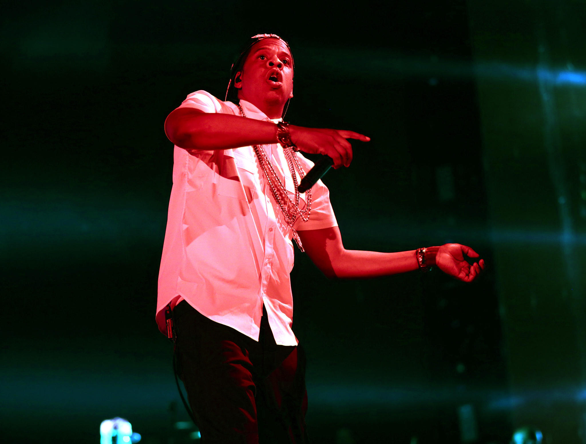 Jay Z, performing at Soldier Field.