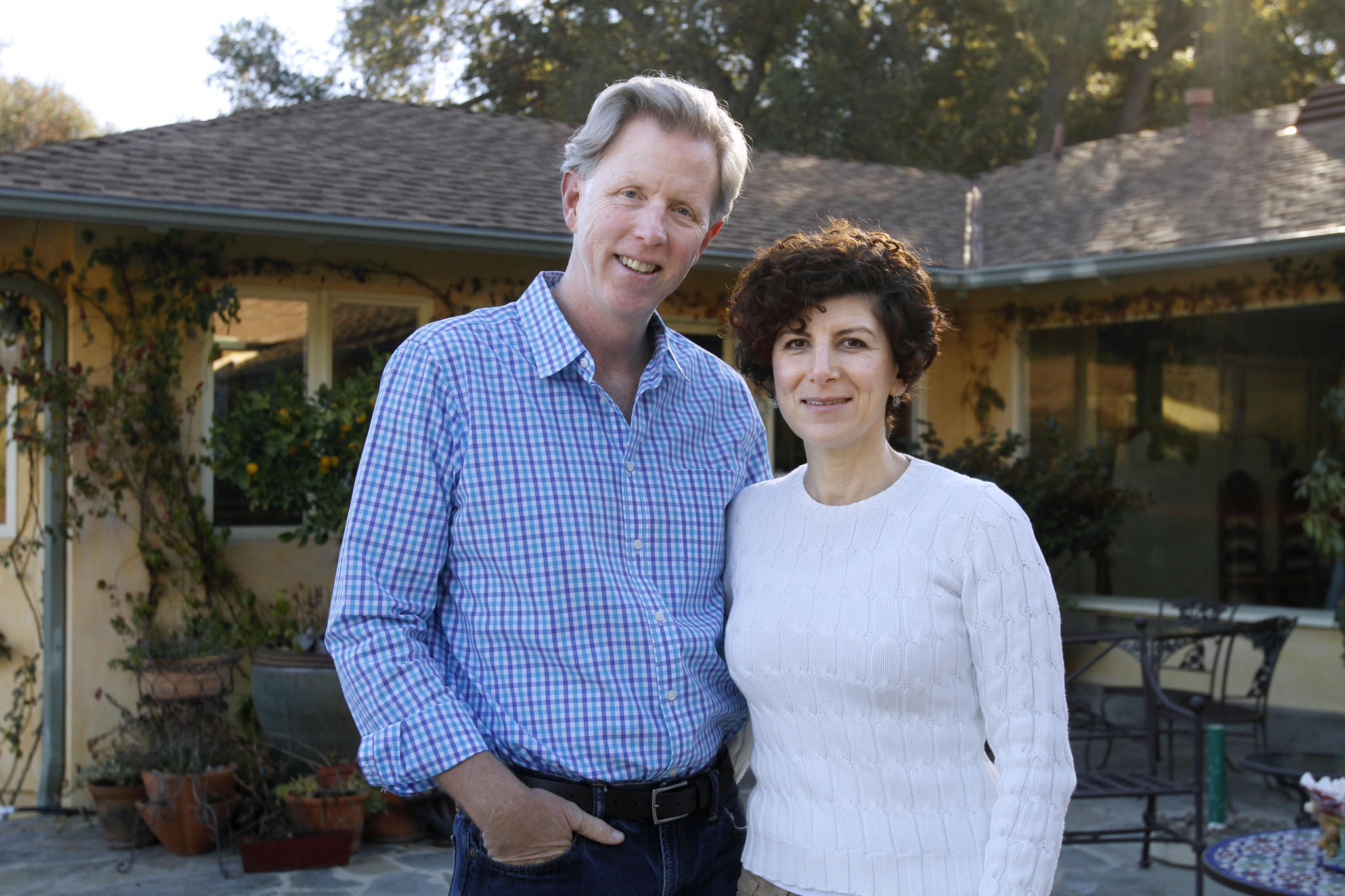 "Directors Patrick and Mouna Stewart, at their home in La Cañada Flintridge on Thursday, Dec. 26, 2013. The couple recently produced and directed an independent film called ""It's Better to Jump."""