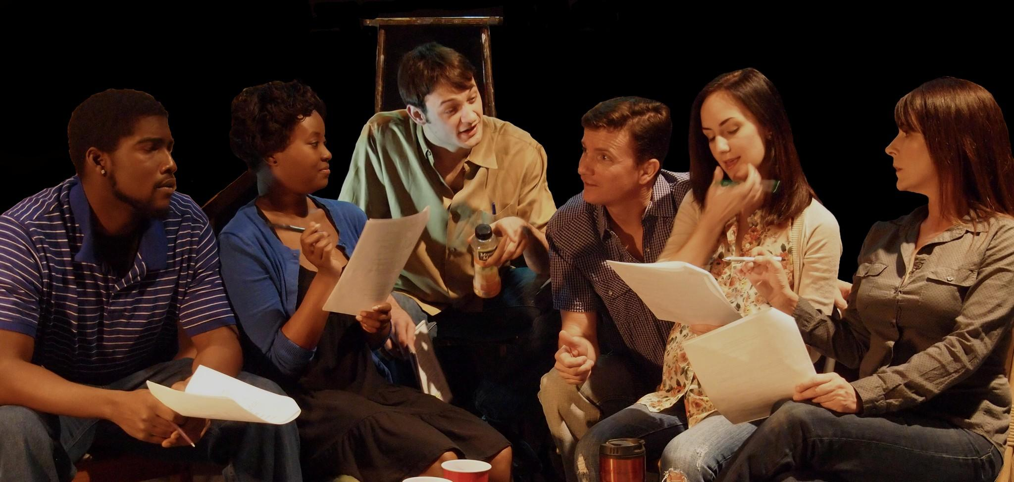 "Shown rehearsing Theatre Downtown's ""Clybourne Park"" are Robert Wright (from left), Gabby Brown, Logan Curran, Daniel Cooksley, Natalie Reed and Leslie Penuel."