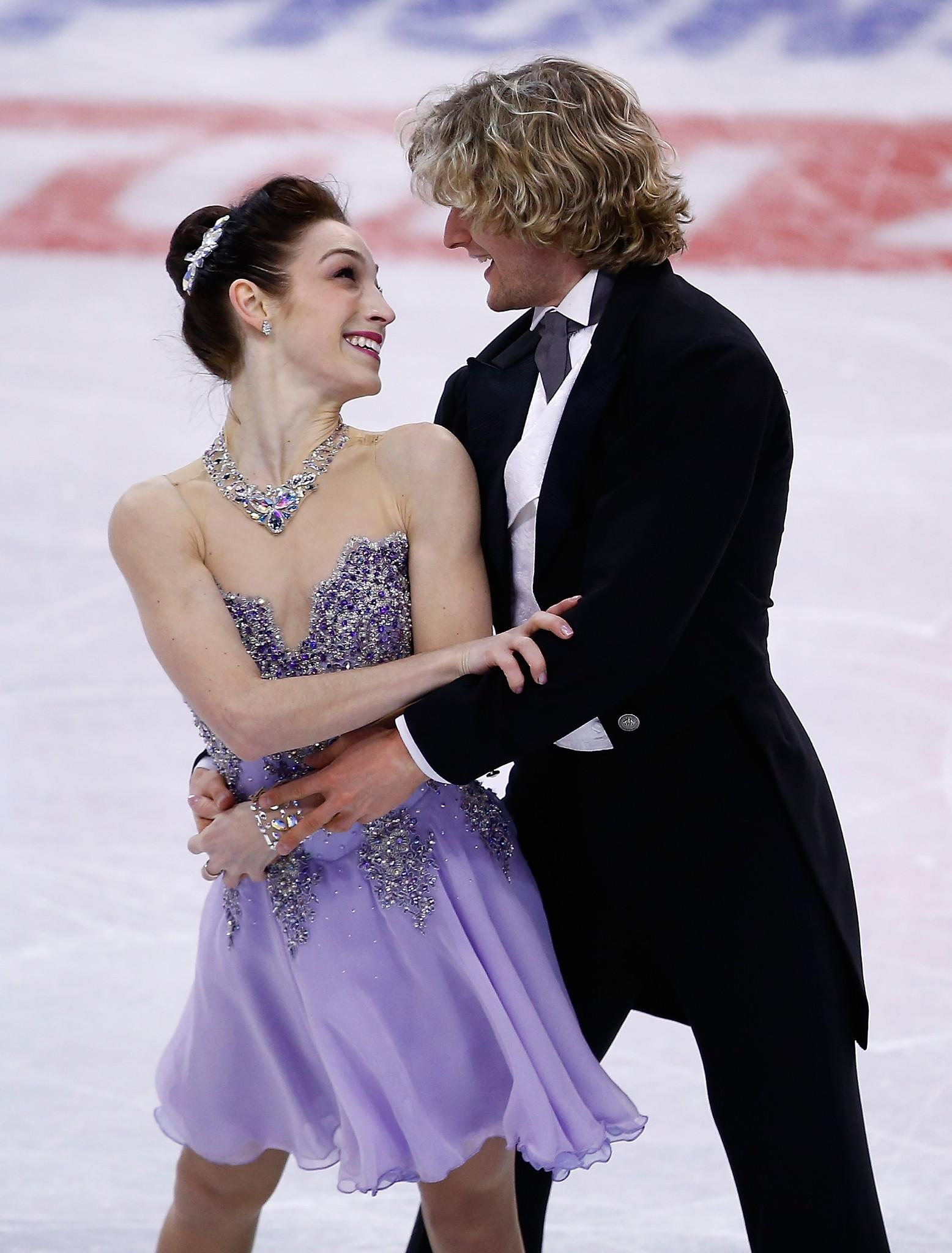 Meryl Davis and Charlie White practice ahead of the 2014 Prudential U.S. Figure Skating Championships at TD Garden on in Boston, Massachusetts.