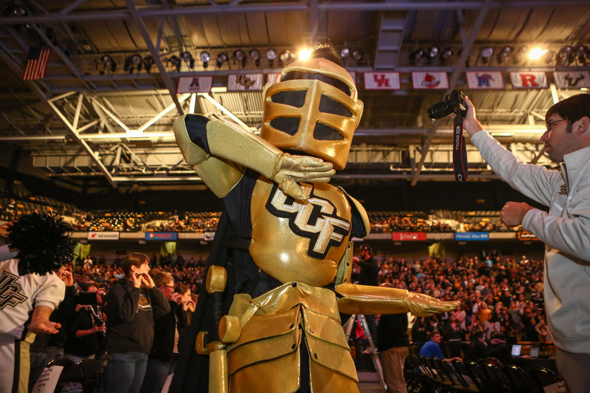 UCF mascot Knightro poses for a photo as fans and alumni pack the CFE arena to celebrate the Knights BCS Fiesta Bowl victory over Baylor in Orlando on Wednesday, January 08, 2014.
