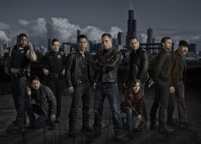 "LaRoyce Hawkins (from left), Archie Kao, Marina Squerciati, Jon Seda, Jason Beghe, Sophia Bush, Jesse Lee Soffer, Patrick Flueger and Elias Koteas of ""Chicago P.D."""