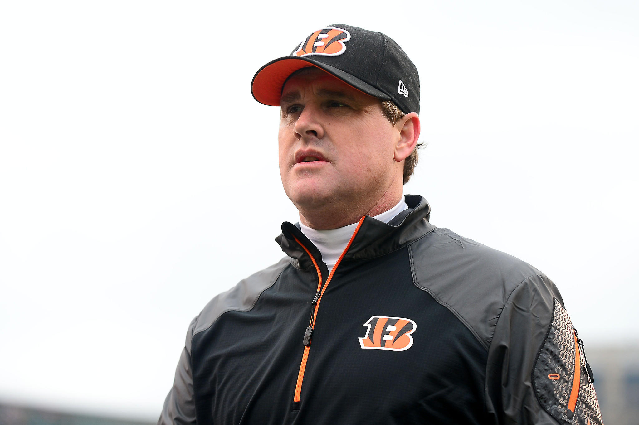 Cincinnati Bengals offensive coordinator Jay Gruden prior to the game against the Baltimore Ravens at Paul Brown Stadium.