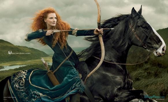 "Jessica Chastain plays Merida from the Disney/Pixar film ""Brave"" in the Disney Dream portrait series shot by Annie Leibovitz."