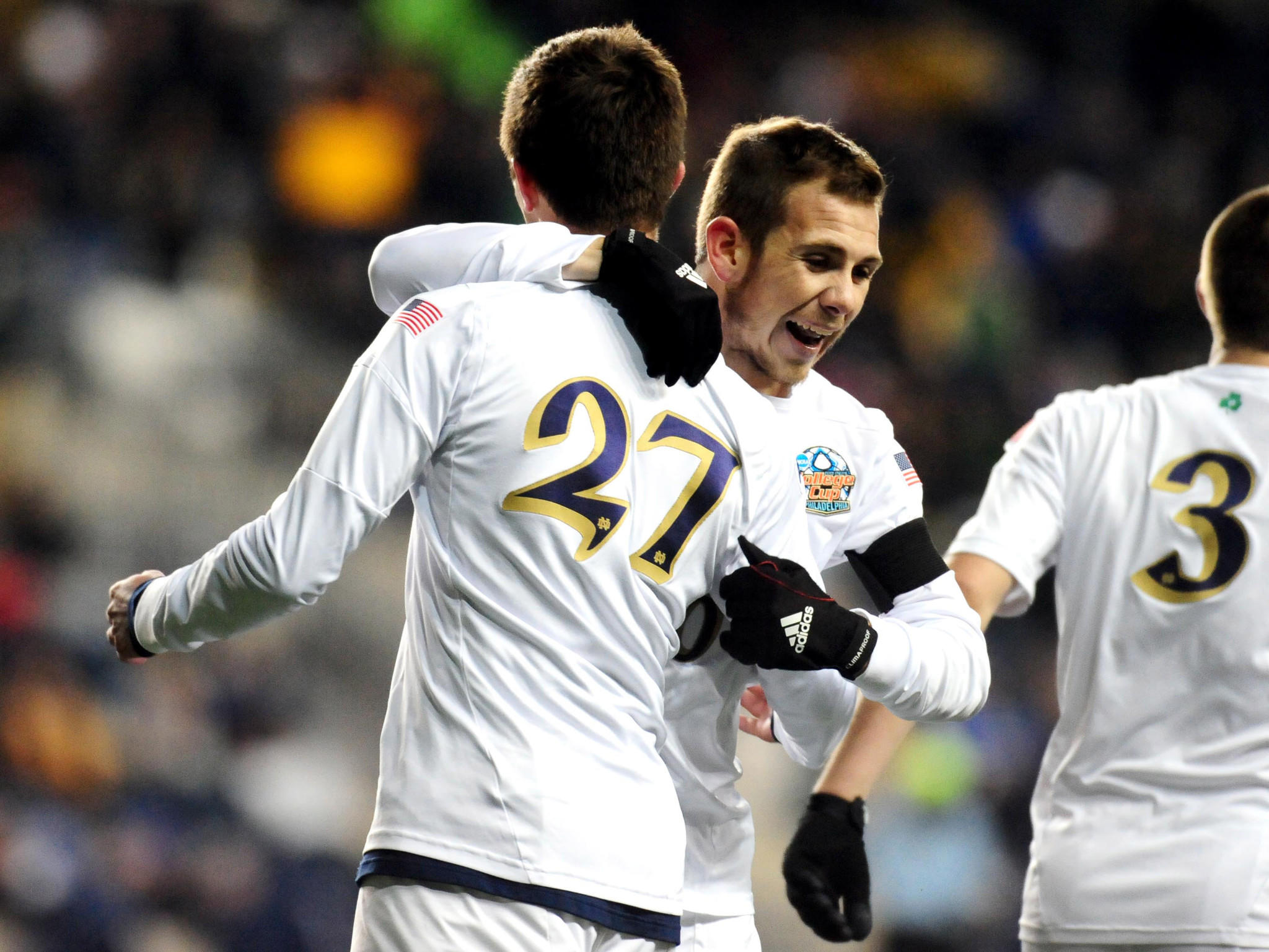Notre Dame Fighting Irish midfielder Patrick Hodan (27) is congratulated by forward Harrison Shipp after scoring a goal in the first half against the New Mexico Lobos at PPL Park.