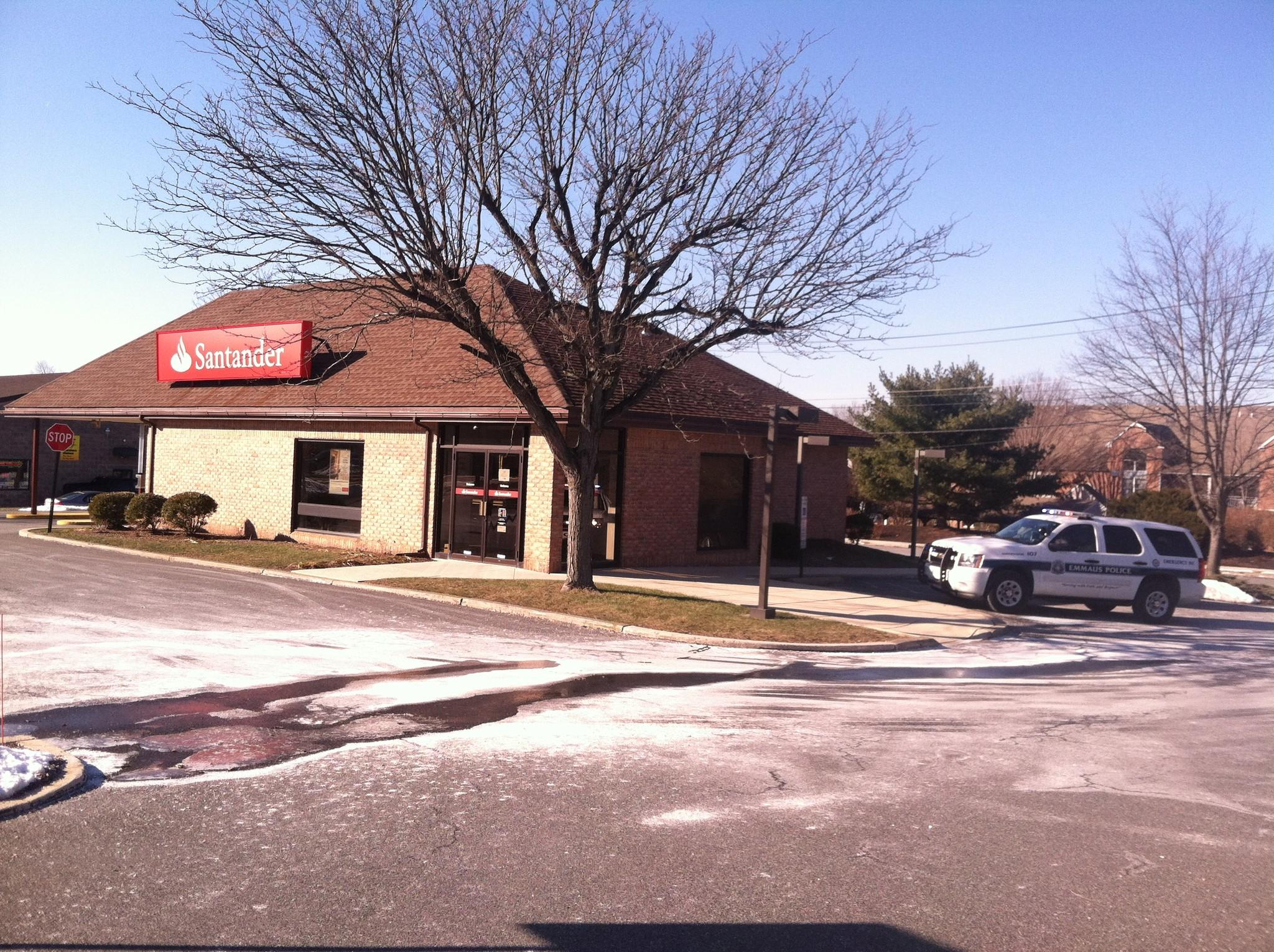 Police are investigating a bank robbery at the Santander branch at Chestnut Street and Cedar Crest Boulevard in Emmaus on Thursday.