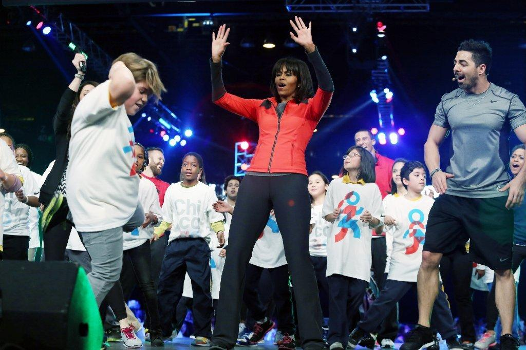 First Lady Michelle Obama takes part in a school exercise program.