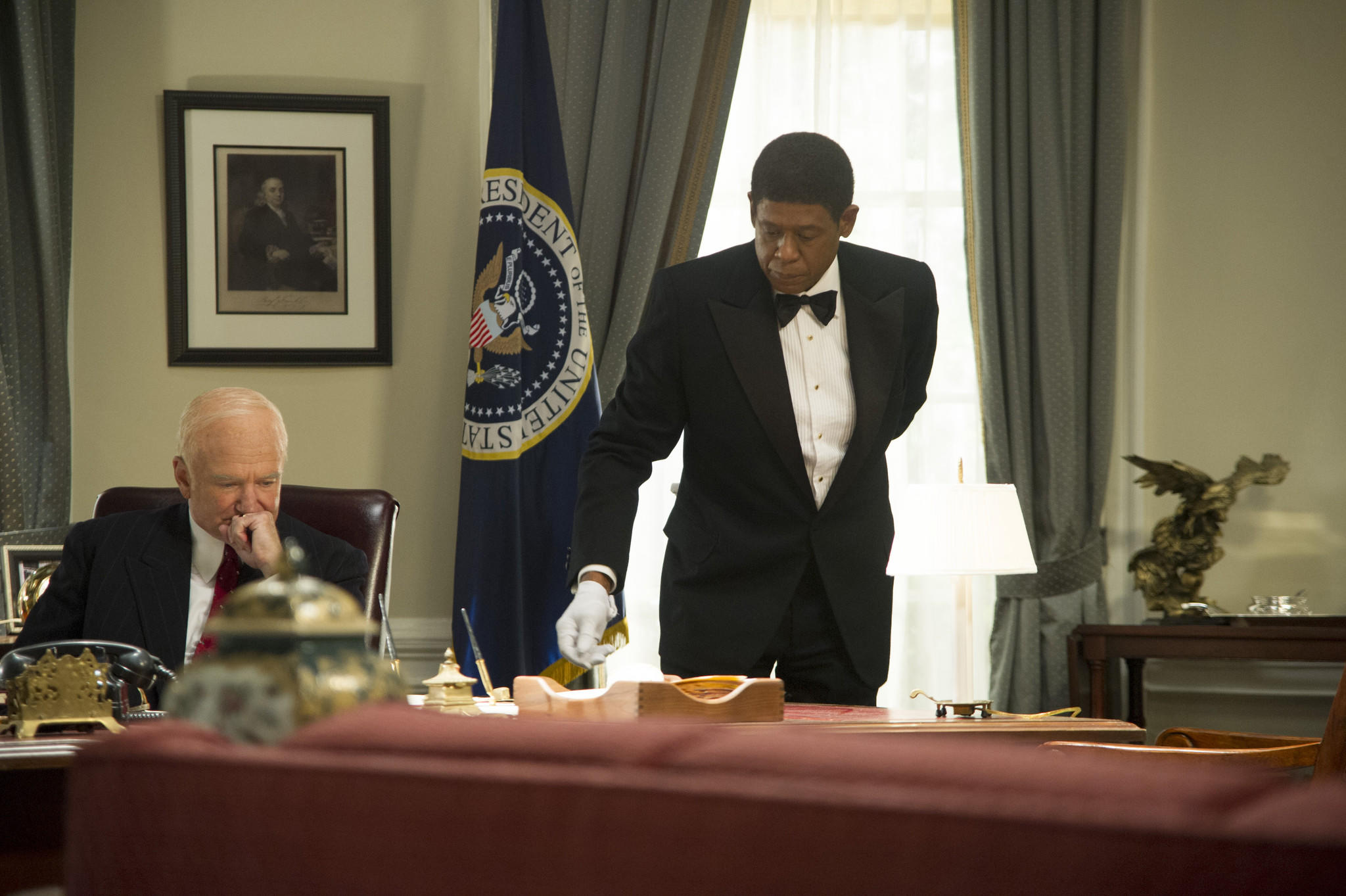 """Lee Daniels' The Butler"" is among the nominess for an Image Award for best motion picture. Pictured: Robin Williams as Dwight Eisenhower, left, and Forest Whitaker as Cecil Gaines."