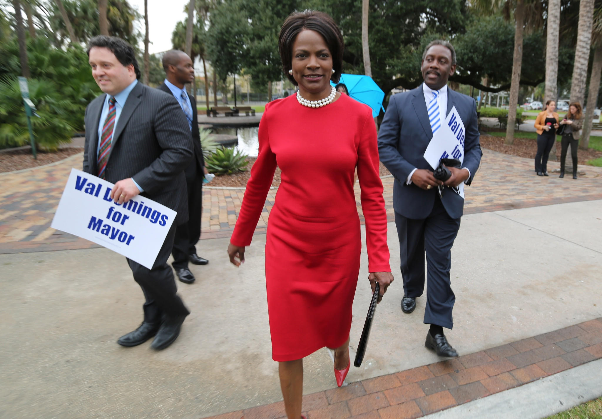 Val Demings holds a mayoral campaign kickoff rally at Lake Eola Park, on Thursday, January 9, 2014.