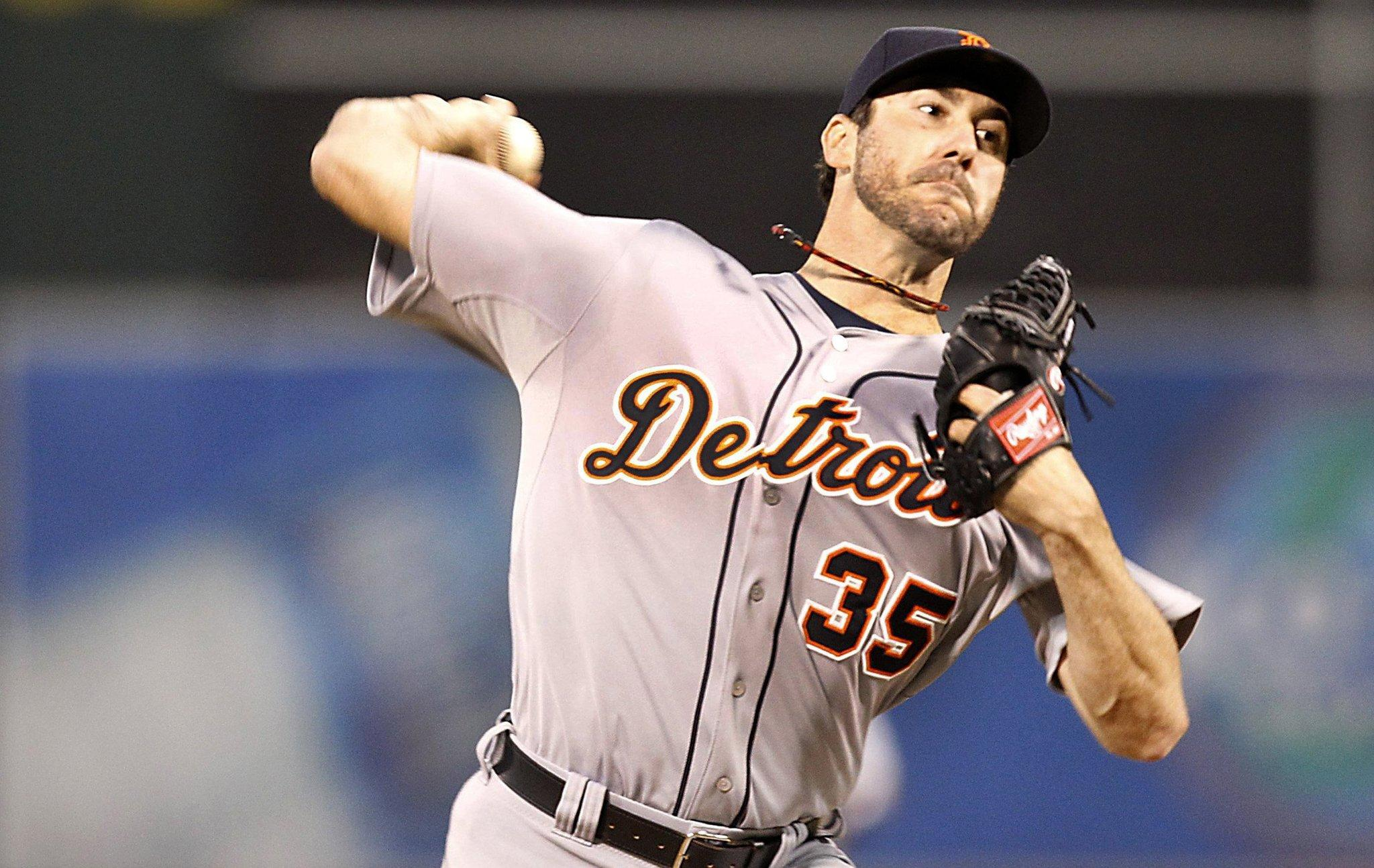 Detroit Tigers pitcher Justin Verlander works against the Oakland Athletics in Game 5 of the American League Division Series.