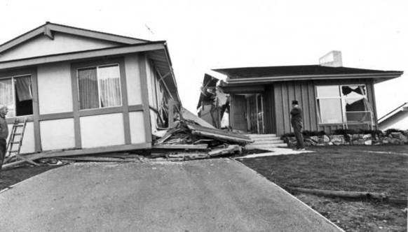 Shown is a home destroyed in the 1971 Sylmar earthquake, in which one side of the San Fernando fault moved as much as 8 feet. About 80% of the buildings along the fault suffered moderate to severe damage, illustrating the risks of building atop faults.