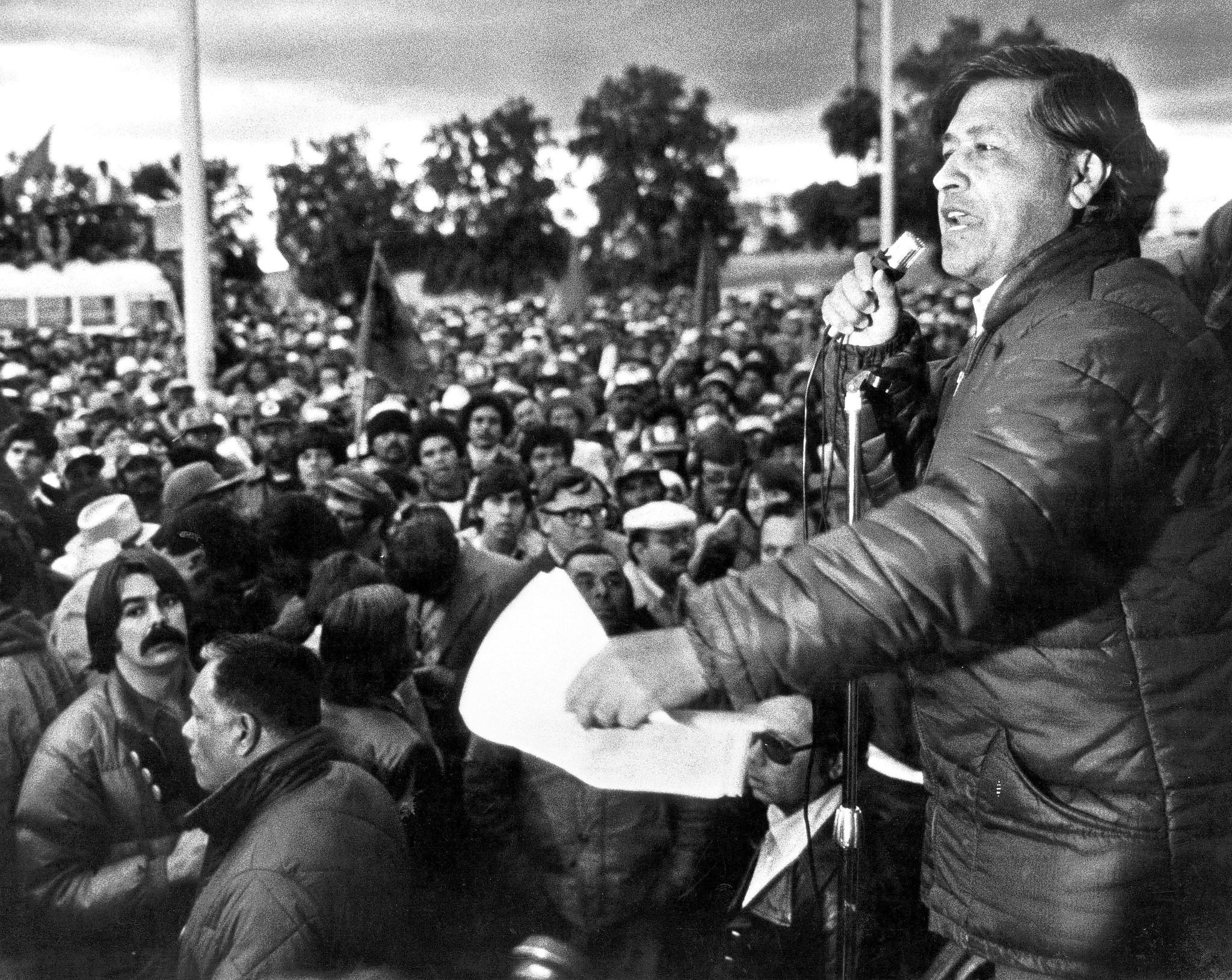 Cesar Chavez speaks to members of the United Farm Workers during a rally in California's Imperial Valley on Feb. 2, 1979.