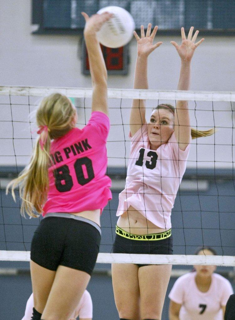 Burbank High's Allison Tiegs (right) was selected to the All-Area Girls' Volleyball Second Team. (Raul Roa/File Photo)