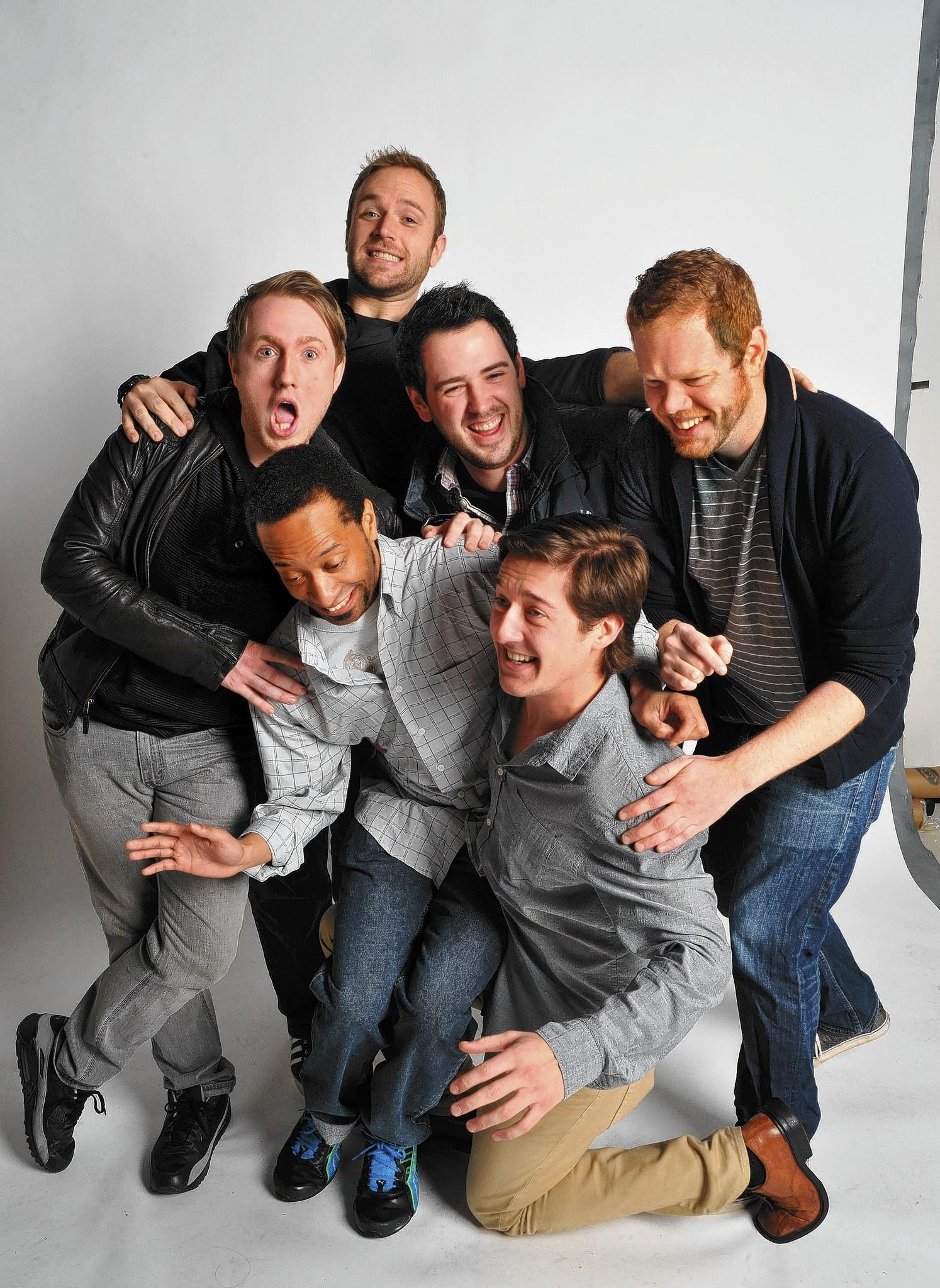 Members of Color Me Funny, a comedy group who do web comedy shorts and perform at open mic nights in the Baltimore area, are (front row, from left) Thezz Grimes and Matt Mahaffey, (middle row from left) Brandon Lescure, Joe Greenway and Justin Hancock and (in back) Mike Turpin.