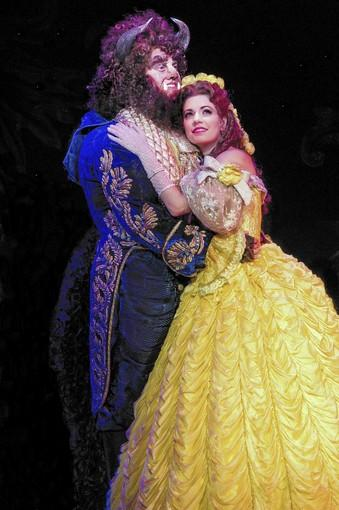 "Darick Pead as Beast and Hilary Maiberger as Belle star in ""Beauty and the Beast."""