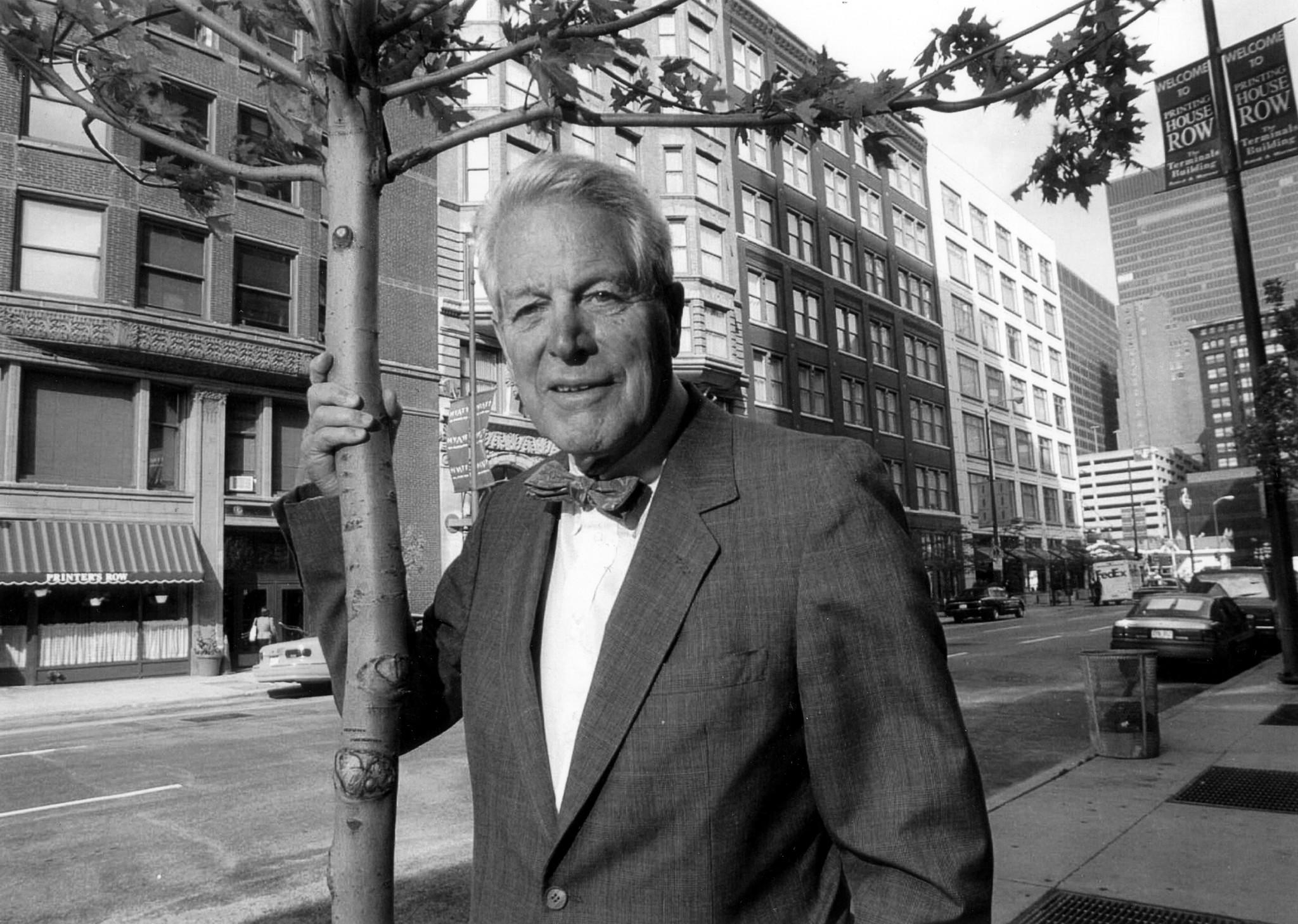 John W. Baird stands in the Printer's Row area on Oct. 2, 1996, where Baird & Warner began converting old factories into apartments during the 1970s.