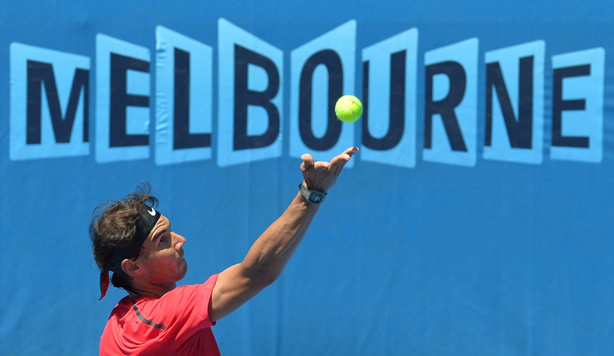 Rafael Nadal serves during a practice session for the upcoming Australian Open.